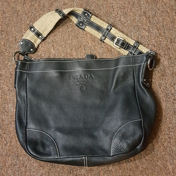 c89dc8a1b2eb60 Prada Bags | Black Pebble Grain Leather Satchel Purse | Poshmark